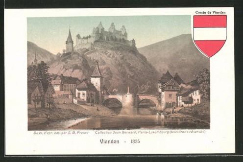 AK-1835_800_Vianden-Flusspartie-mit-Bruecke-und-Blick-zur-Burg-Wappen