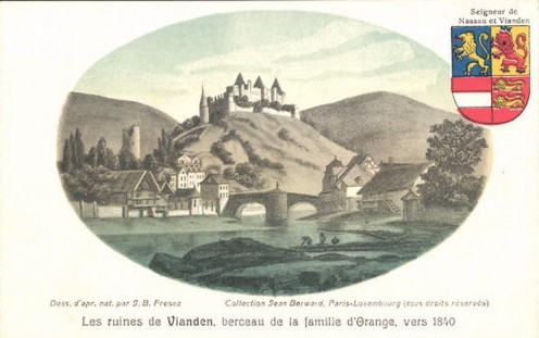 AK-Vianden-Les_A_800_-ruines-berceau-de-la-famille-d-Orange-1840-Wappen-von-Nassau-und-Vianden